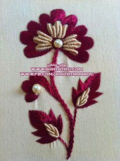 Exclusively embroideries Al-Rabati with Albatron - Stickerei Ideen Embroidery Neck Designs, Hand Embroidery Videos, Hand Embroidery Flowers, Hand Embroidery Tutorial, Embroidery Works, Simple Embroidery, Hand Embroidery Stitches, Silk Ribbon Embroidery, Crewel Embroidery
