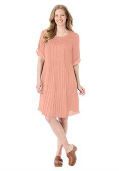 Plus Size Pleated sateen shift dress