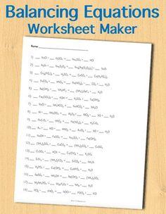 Customizable and Printable Balancing Chemical Equations Worksheet