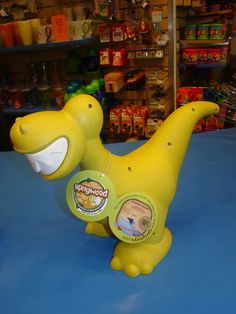 This fun dinosaur is made of recyclable materials. You can purchase him in the Museum Shop for $25.99. Our Museum Shop does ship!