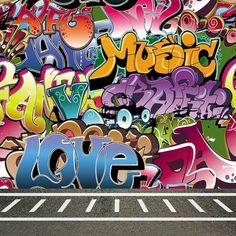 Graffiti Wall 8'x8' CP Backdrop Computer printed Scenic Background CM-5665