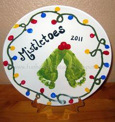 Handprint and Footprint Arts & Crafts: Footprint Mistletoes- DIY Decorative Keepsake Plate. Footprint and fingerprints