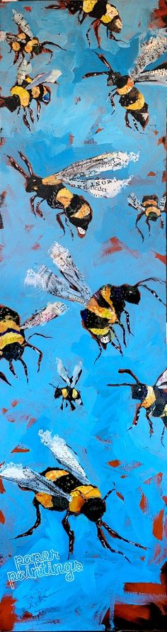 """12x48 Original mixed media honey bee collage. """"Therein Lies the Buzz"""" is about appreciating the little things in life. This won't last at $1600 with FREE US Shipping. Buy it NOW"""