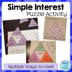 Fun puzzle activity for practicing simple interest!!