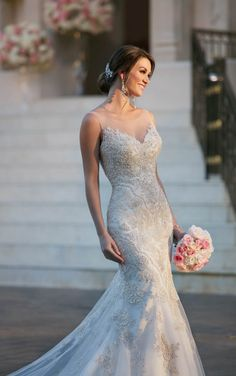 6298 Fit and Flare Wedding Dress with Illusion Neckline by Stella York