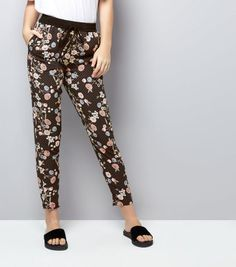 Black Floral Print Tapered Trousers | New Look