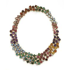 Grima Creations: NECKLACES: MULTICOLOURED NECKLACE, 2014 Amethysts, Diamonds, Tourmalines, Citrines and Aquamarines set in Yellow Gold