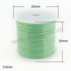 Cord Thread & Wire, Flat Crystal Elastic Cord, Lt. green, Approx 0.6mm, 60 meters per spool, 25 spools per bag, Sold by bags