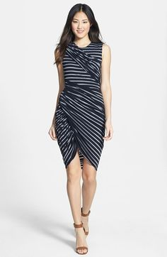 B44 Dressed by Bailey 44 'Tornado' Stripe Asymmetrical Drape Jersey Dress available at #Nordstrom