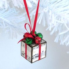 Sheet Music Ornament with Jingle Bells Small Ornament by rrizzart, $10.00