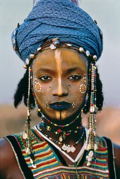 Wodaabe (Mbororo) tribe. Traditionally nomadic cattle-herders and traders in Central African Republic.