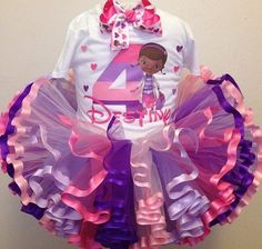 doc mcstuffins ribbon trimmed tutu and shirt set by tutookouture, $35.00
