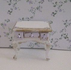 shabby chic bedside chest,  white ,with gold trims and rose bouquets, twelfth scale miniature via Etsy