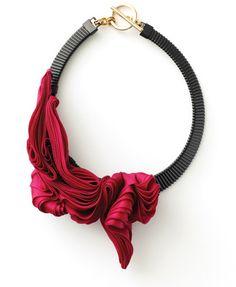 Sculpted chiffon & lambskin collar necklace - exquisite sculptural textiles jewellery; wearable art // Maryam Keyhani