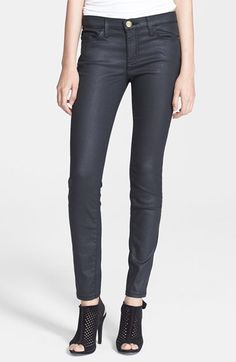 Current/Elliott 'The Stiletto' Skinny Jeans (Black Coated) available at #Nordstrom