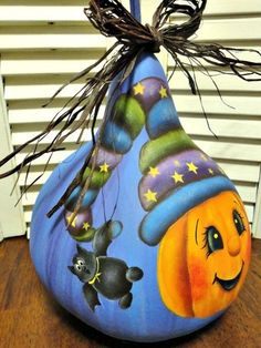 Hand Painted Halloween Pumpkin Bat Gourd