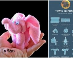DIY Towel Elephant Gift Wrapping Tutorials - Washcloth - Ideas of Washcloth - DIY Towel Elephant Gift Wrapping Tutorials Gift Wrapping Tutorial, Towel Animals, How To Fold Towels, Baby Washcloth, Towel Crafts, Towel Wrap, Baby Towel, Elephant Baby Showers, Baby Crafts