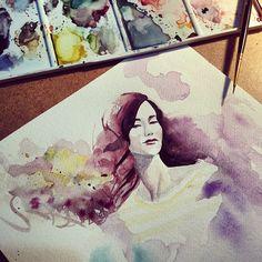 304 отметок «Нравится», 5 комментариев — Hatice Kahraman (@kupeliagac) в Instagram: «Inspired by @garypepper ☺️ #garypepperart #art#istanbul#night#woman#watercolor#vscocam»