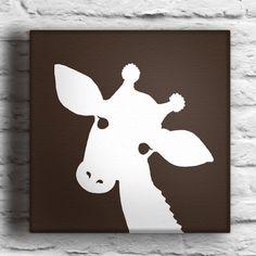 Baby Giraffe Silhouette | Custom Baby Giraffe Silhouette Painting on Canvas by waddlingduck