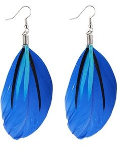 £2.99 #Feather Strand #Earrings Blue, #fashion, #accessories, #gothic glam www.highstreetfashion.co