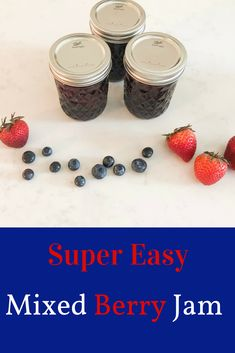 Easy Canning & An Easy Mixed Berry Jam Recipe - Jam Recipes, Canning Recipes, Great Recipes, Jelly Recipes, Favorite Recipes, Easy Family Meals, Frugal Meals, Easy Meals, Mixed Berry Jam