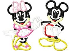 Full Body Smiling Mister and Miss Mouse THREE design SET Machine Embroidery Applique Designs Multiple Sizes