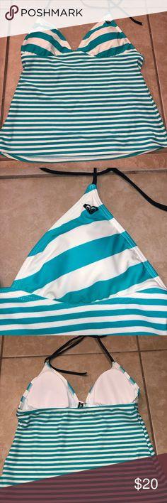 57a8ecae1bb9b Roxy Swim tankini bathing suit top Blue and white strip tankini Roxy  bathing suit top with