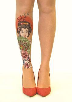 Geisha - 20 Den Tattoo Sheer Tights.  #oriental #tattoo #geisha #pantyhose