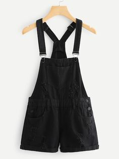 Shop Roll Up Hem Ripped Denim Overalls online. SHEIN offers Roll Up Hem Ripped Denim Overalls & more to fit your fashionable needs. Ripped Denim, Black Denim, Salopette Short Jean, Mode Outfits, Fashion Outfits, Fashion Styles, Skirt Outfits, Modest Fashion, Vetement Fashion