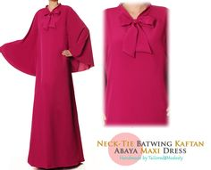 Magenta Neck-Tie Batwing Kaftan Lightweight Summer Long Sleeved Abaya Maxi Dress - Free Size S/M/L 4853 FREE SHIPPING! by Tailored2Modesty on Etsy