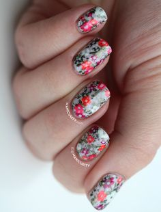 manicurity:  Spring to Summer Floral Neon + Pastel Nail Art with...