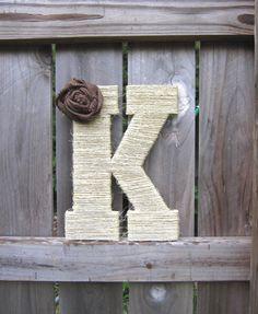 "13.5"" Twine-Wrapped Custom Monogram Letter with Burlap Rosette"