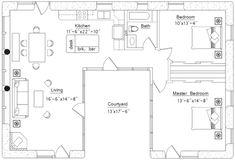 U Shaped House Plans, U Shaped Houses, Pool House Plans, Courtyard House Plans, Small House Floor Plans, Cottage Floor Plans, Kitchen Floor Plans, Cottage Plan, Ranch House Plans
