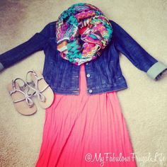 What I wore   outfit layout   teacher clothes   maxi dress   jean jacket   chevron scarf   summer to fall