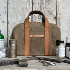Dopp Case: Truffle in Waxed Canvas and WWII Leather
