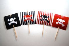 24 Pirate Cupcake Topper PRINTED by BsquaredDesign on Etsy, $10.00