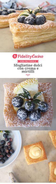 Sfogliatine dolci con crema e mirtilli