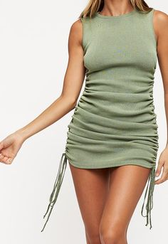 Ribbed, stretchy fabrication Crew neckline Pull over design Adjustable drawstrings with ruching at the side Can be adjusted from a mini dress to a full length dress PLEASE NOTE: This garment runs large. Cute Girl Outfits, Casual Outfits, Summer Outfits, Fashion Poses, Fashion Outfits, Female Fashion, Green Top Outfit, Rajputi Dress, French Girl Style