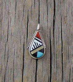 Zuni Vintage Mother of Pearl Multi Inlay Tear Drop Pendant, Zuni Pendant, Tear Drop Pendant, Vintage Gift Jewelry,Women's Pendant, #Etsy USA