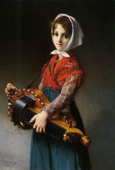 The Hurdy-Gurdy Girl (1879). Jules Richomme (French, 1818-1903). Oil on canvas. A hurdy-gurdy is a string instrument incorporating a wooden wheel rotated by a shaft connected to a hand crank. Sound is produced by the action of the rim of the rotating wheel rubbing across the string as the wheel is turned. Same in principle as that of a violin bow on a violin string. Because of the curve of the wheel, a number of strings arranged to intersect its circumference can be sounded simultaneously.