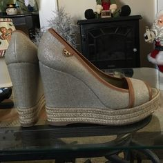 Tory Burch wedges Tory Burch tweed wedges. Size 37 excellent condition Tory Burch Shoes Wedges