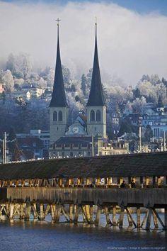 Switzerland, Lucerne, why yes I have walked across that bridge. (: