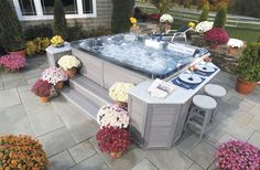 LOVE how you can quickly, easily and cost effectively transform any bla or plain space, like this Thermospa or hot tub, into a beautiful and colorful garden and flower oriented space in minutes! Hot Tub Gazebo, Hot Tub Backyard, Hot Tub Garden, Backyard Plan, Jacuzzi Outdoor, Small Backyard Pools, Backyard Pool Landscaping, Small Pools, Pool Decks