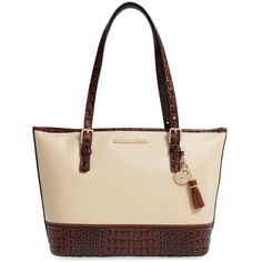 Brahmin 'Medium Asher' Leather Tote ($275) ❤ liked on Polyvore featuring bags, handbags, tote bags, purses, ivory summer tuscan, white tote bag, summer totes, brahmin handbags, leather satchel and white leather purse