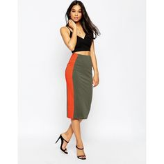 ASOS Side Stripe Pencil Skirt In Colour Block ($30) ❤ liked on Polyvore featuring skirts, khakired, color block skirt, asos, colorblock pencil skirt, body con skirt and knee length bodycon skirt
