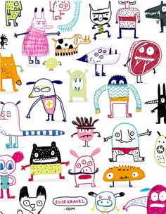Elise Gravel - Montreal-based Author/illustrator of funny books for kids. Monster Illustration, Pattern Illustration, Character Illustration, Book Illustration, Textures Patterns, Print Patterns, Elise Gravel, Illustration Mignonne, Monster Characters