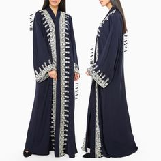 HANAA is a modest fashion brand that celebrate the Abaya and Hijab as a powerful expression of a woman's individuality. Denim Abaya, Henna Style, White Henna, White Embroidery, Modest Fashion, Fashion Brand, Kimono Top, Gowns, My Style