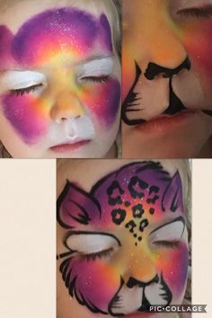 Cat face painting tutorial by Kristy Clewis face colors # – Cats Face Painting Tutorials, Face Painting Designs, Paint Designs, Painting Techniques, Art Tutorials, Rainbow Face Paint, Rainbow Painting, Kitty Face Paint, Cat Face
