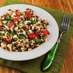 Recipe for Lentil and Barley Greek-Style Salad with Tomatoes, Feta, and Capers