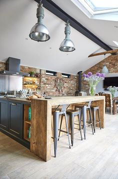 Combine rustic wood with modern textures for the perfect industrial kitchen from The Main Company. Combine rustic wood with modern textures for the perfect industrial kitchen from The Main Company. Large Open Plan Kitchens, Open Plan Kitchen Diner, Kitchen Diner Extension, Home Decor Kitchen, New Kitchen, Living Room Kitchen, Home Kitchens, Awesome Kitchen, Kitchen Ideas